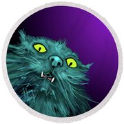 Round Beach Towel featuring the painting Fang Dizzycat by DC Langer