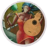 Round Beach Towel featuring the painting Fantasia Boricua by Oscar Ortiz