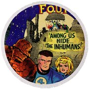 Fantastic Four Comic Cover Round Beach Towel