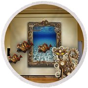 Fantasy Art Museum Collection Round Beach Towel