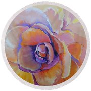 Round Beach Towel featuring the painting Fantasy Begonia by Jodie Marie Anne Richardson Traugott          aka jm-ART