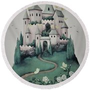 Fantasy Castle Round Beach Towel