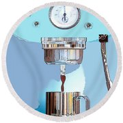 Fantasy Espresso Machine Round Beach Towel by Marian Cates