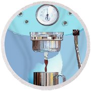 Fantasy Espresso Machine Round Beach Towel