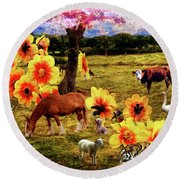Fantasy Farm Round Beach Towel