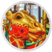 Fantasy Giraffe Carrousel Ride Round Beach Towel