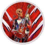 Fantasy Heavy Metal Skull Guitarist Round Beach Towel
