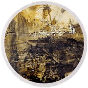 Round Beach Towel featuring the painting Fantasy In Sepia by Nancy Kane Chapman