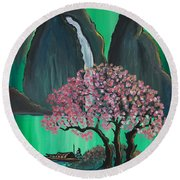 Fantasy Japan Round Beach Towel by Jacqueline Athmann