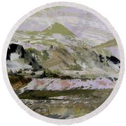 Fantasy Mountains 2 Round Beach Towel
