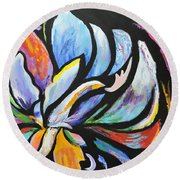 Round Beach Towel featuring the painting Fantasy Peony by Jodie Marie Anne Richardson Traugott          aka jm-ART
