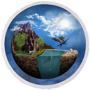 Fantasy Planet 1 Round Beach Towel