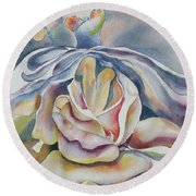 Round Beach Towel featuring the painting Fantasy Rose by Mary Haley-Rocks