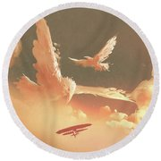 Round Beach Towel featuring the painting Fantasy Sky by Tithi Luadthong