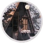Round Beach Towel featuring the photograph Fantasy Wooden House by Helga Novelli