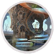 Fantasy Tree Cottage Round Beach Towel by Hal Tenny