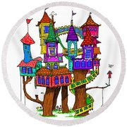 Fantasy Treehouse Round Beach Towel