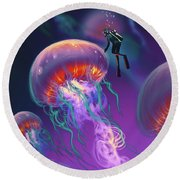 Round Beach Towel featuring the painting Fantasy Underworld by Tithi Luadthong