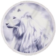 Fantasy White Lion Round Beach Towel