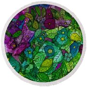 Fantasy Zen Flowers In Alcohol Ink Round Beach Towel