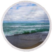 Far Away From Home Round Beach Towel by Rachel Cohen