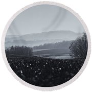 Far Away, The Misty Mountains Cold Round Beach Towel