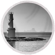 Far De La Savina Lighthouse, Formentera Round Beach Towel