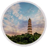 Far Distant Pagoda Round Beach Towel