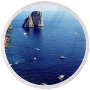 Faraglioni Rocks, Isle Of Capri Round Beach Towel