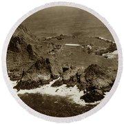 Farallon Island Lighthouse Pacific Ocean April 4, 1924 Round Beach Towel