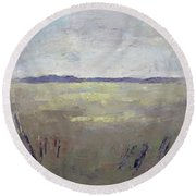 Round Beach Towel featuring the painting Faraway by Becky Kim