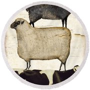 Farm Animals Pileup Round Beach Towel