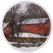 Farm - Barn - Winter In The Country  Round Beach Towel by Mike Savad