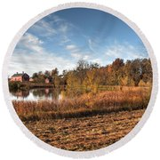 Farm Fall Colors Round Beach Towel