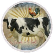 Round Beach Towel featuring the painting Farm Fresh Barnyard Animals Cow Rooster Typography by Audrey Jeanne Roberts