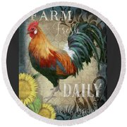 Round Beach Towel featuring the painting Farm Fresh Daily Red Rooster Sunflower Farmhouse Chic by Audrey Jeanne Roberts