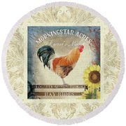 Round Beach Towel featuring the painting Farm Fresh Damask Barnyard Rooster Sunflower Square by Audrey Jeanne Roberts