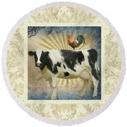 Round Beach Towel featuring the painting Farm Fresh Damask Milk Cow Red Rooster Sunburst Family N Friends by Audrey Jeanne Roberts