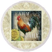 Round Beach Towel featuring the painting Farm Fresh Damask Red Rooster Sunflower by Audrey Jeanne Roberts