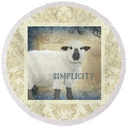 Round Beach Towel featuring the painting Farm Fresh Damask Sheep Lamb Simplicity Square by Audrey Jeanne Roberts
