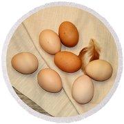 Farm Fresh Eggs Round Beach Towel