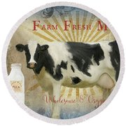 Round Beach Towel featuring the painting Farm Fresh Milk Vintage Style Typography Country Chic by Audrey Jeanne Roberts