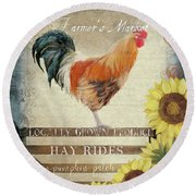Round Beach Towel featuring the painting Farm Fresh Morning Rooster Sunflowers Farmhouse Country Chic by Audrey Jeanne Roberts