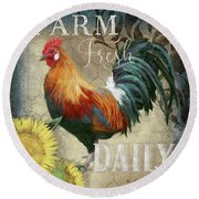 Round Beach Towel featuring the painting Farm Fresh Red Rooster Sunflower Rustic Country by Audrey Jeanne Roberts