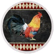 Round Beach Towel featuring the painting Farm Fresh Rooster 4 - On Chalkboard W Diamond Pattern Border by Audrey Jeanne Roberts