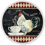 Round Beach Towel featuring the painting Farm Fresh Rooster 5 - Coffee Served Chalkboard Cappuccino Cafe Latte  by Audrey Jeanne Roberts