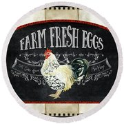 Round Beach Towel featuring the painting Farm Fresh Roosters 1 - Fresh Eggs Typography by Audrey Jeanne Roberts