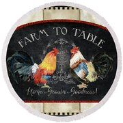 Round Beach Towel featuring the painting Farm Fresh Roosters 2 - Farm To Table Chalkboard by Audrey Jeanne Roberts