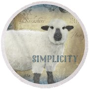 Round Beach Towel featuring the painting Farm Fresh Sheep Lamb Simplicity Square by Audrey Jeanne Roberts