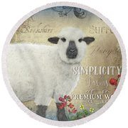 Round Beach Towel featuring the painting Farm Fresh Sheep Lamb Wool Farmhouse Chic  by Audrey Jeanne Roberts